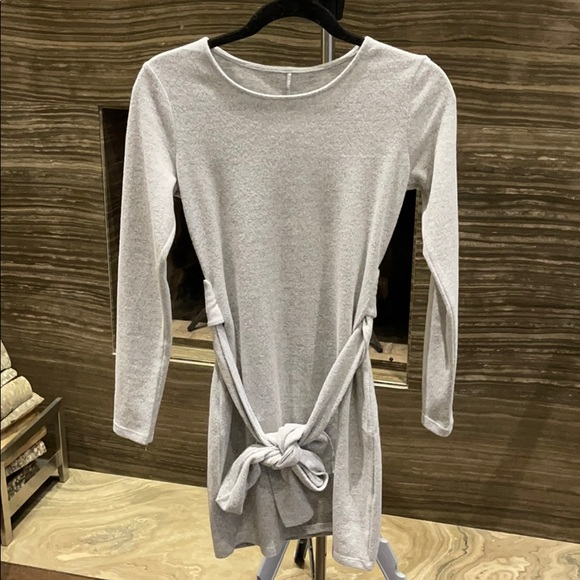 Heather grey tie mini dress